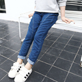2016 Brand New Baby Girl Jeans Pants Solid Color Patchwork Kid Jeans Elastic Waist High Quality Children Autumn Trousers