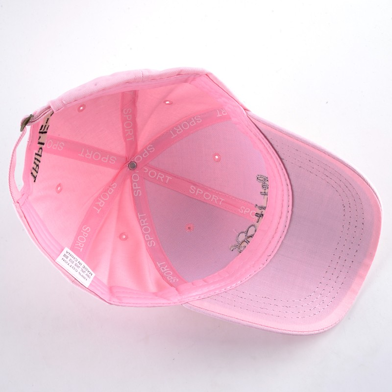 Let It Bee Baseball Cap - Pink Cap Inside View