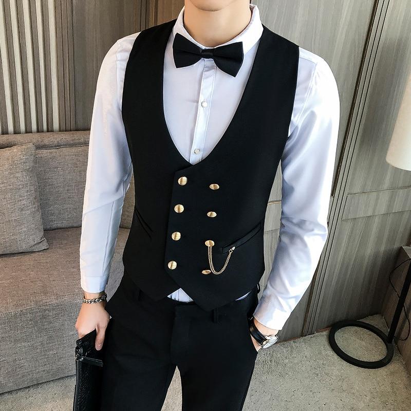 Latest Men Waistcoat Metallic Double Breasted Chain Dress Suit Vest Male Plus Size Weste Homme Evening Casual Slim Fit Gilet Man