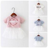 2016 Coreani dei bambini Indumento di Estate Nuovo Modello In Entrata Della Ragazza Baby Love Split Comune Vestito Filato Giacca Ragazza