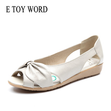 E TOY WORD 2019 New Women Sandals Soft Leather Flat Sandals Open Toe Mother Wedges Casual Sandals Summer Women Shoes ceyaneao women s shoes flat sandals genuine leather women s sandals flat casual open toe bohemian sandals female summer shoe