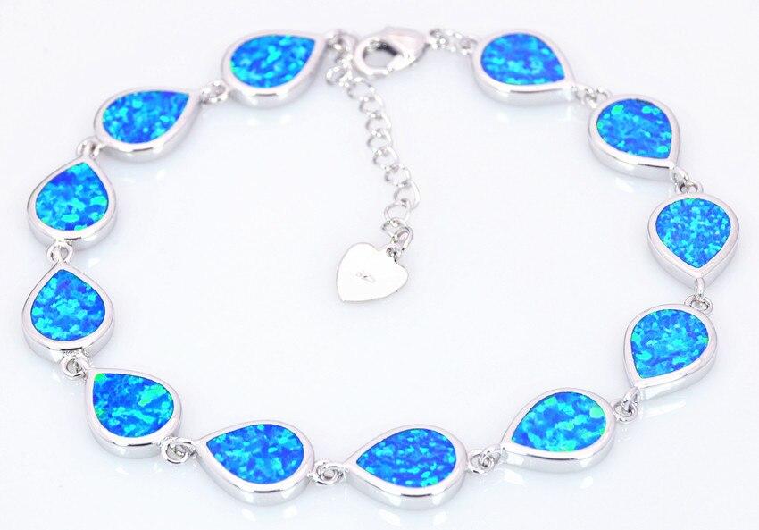 ab5e71526081ce Wholesale   Retail Fashion Fine Water Drop Blue Fire Opal flip flops  Bracelet Sliver Jewelry party
