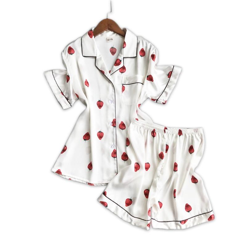 Sexy strawberry satin silk short   pajamas     Sets   women summer white fruits nightwear short sleeve Texture pijamas pyjamas women