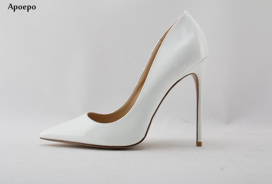 Apoepo Newest White Patent Leather High Heel Shoes 2018 Pointed toe Woman Pumps Slip-on Stiletto Heels Thin heels Shoes newest patent leather high heel shoes sexy pointed toe woman pumps 2017 leopard printed stiletto heels thin heels dress shoes