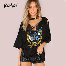 ROMWE Oversized Grungy Trade Mark T-Shirt Black Tee Women Graphic Casual Punk Tops 2019 Casual Loose Sexy Cut Out Cotton T-Shirt
