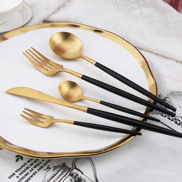 KuBac 30-Pieces Black Gold Dinnerware Set 18/10 Stainless Steel Dinner Knife Fork White Gold Cutlery Set Pink  With Giftbox