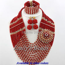 12 Rows African Beads Jewelry Set Fashion Nigerian Bridal Necklace Jewelry Set Crystal Beads Jewelry Set Free Shipping AJS511