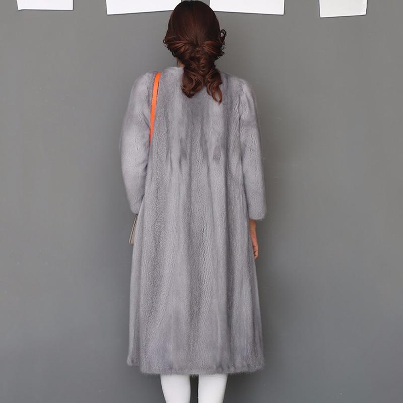 LVCHI Yeni stil bayanlar moda vizon palto Hakiki Deri Vizon Kürk - Bayan Giyimi - Fotoğraf 3