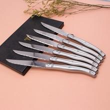 프랑스를 만나는 6 pcs 고품질 laguiole 스테인리스 식기류/칼 붙이 스테이크 나이프 세트 식기 세트