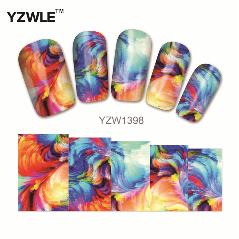 YZWLE 1 Sheet Chic Flower Nail Art Water Decals Transfer Stickers Splendid Water Decals Sticker(YZW-1398) yzwle 1 sheet hot gold 3d nail art stickers diy nail decorations decals foils wraps manicure styling tools yzw 6015