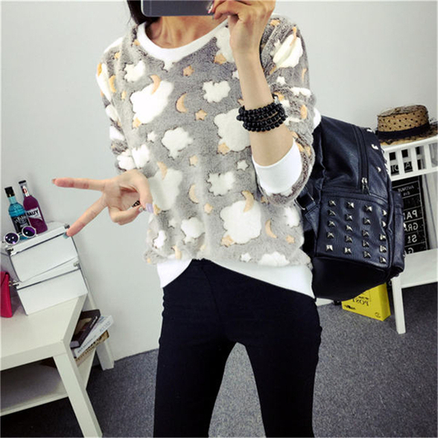 Spring Winter Sweater Women Top Lovely Lesser Bears Print Knitted Sweater 2017 Casual Slim Fashion Pullover For Women Jumper