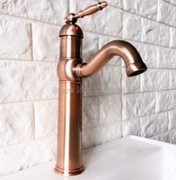 Antique Red Copper Swivel Spout Kitchen Faucet Single Handle Cold and Hot Water Mixer Tap Wash Basin Mixer Sink Faucets Wnf388