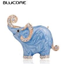 Blucome جديد وصول جميل الأزرق الملمس المينا الفيل شكل بروش كريستال دبابيس دبابيس للنساء الاطفال وشاح الملابس والمجوهرات