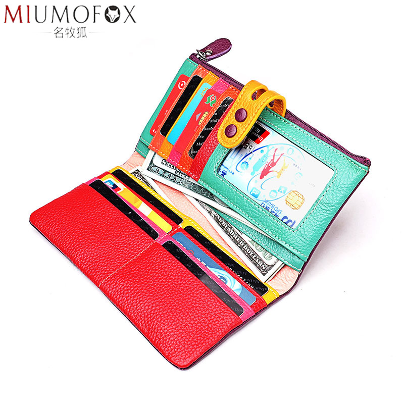 Women Genuine Leather Wallet Colourful Female Long Real Leather Clutch Purse Ladies Zipper Phone Coin Purse Billfold Women's Bag