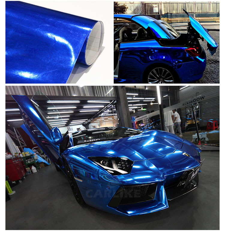Image 4 - 7 Sizes High stretchable dark Blue Chrome Mirror Vinyl Wrap Dark blue chrome mirror vinyl Sheet Film Car Sticker Decal Sheet-in Car Stickers from Automobiles & Motorcycles