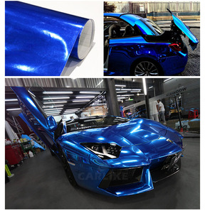 Image 4 - 7 Sizes High stretchable dark Blue Chrome Mirror Vinyl Wrap Dark blue chrome mirror vinyl Sheet Film Car Sticker Decal Sheet