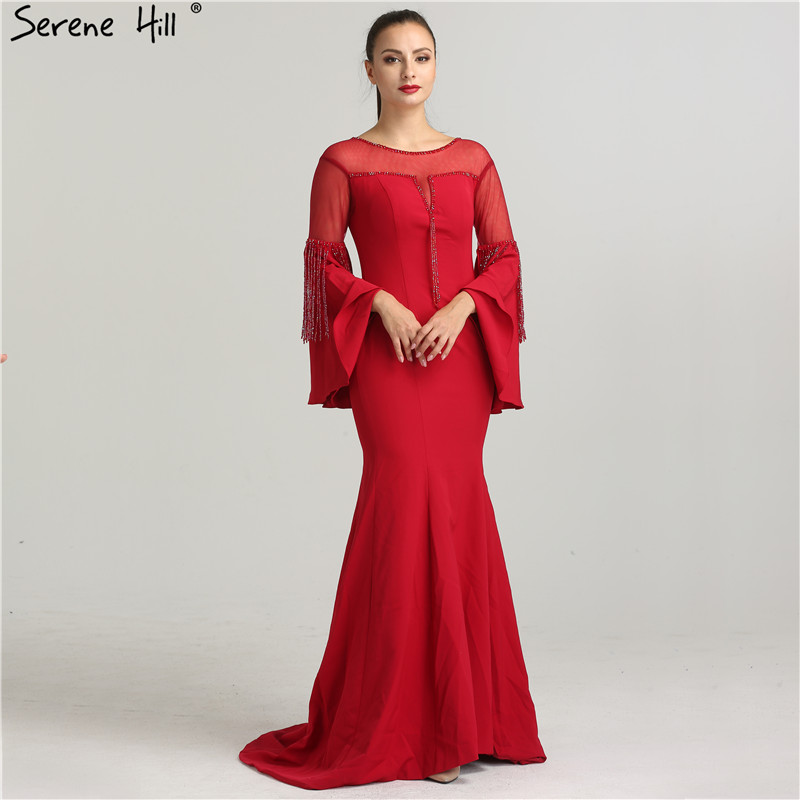 Formal Evening Gowns By Designers: Red Trumpet Sleeves Newest Designer Evening Dresses 2019