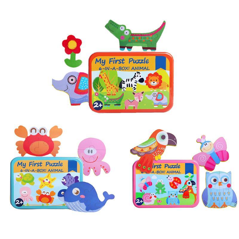6 set/box Деревянный мультфильм животных головоломки игрушка доска с железный ящик прекрасный животный принт головоломки Паззлы детские разви...