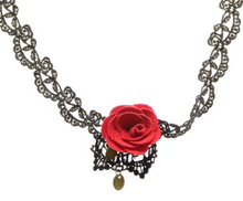 Red Rose Flower Lace Collar Choker Vintage Gothic Necklace Jewelry Accessories Pendant Necklace Black Lace