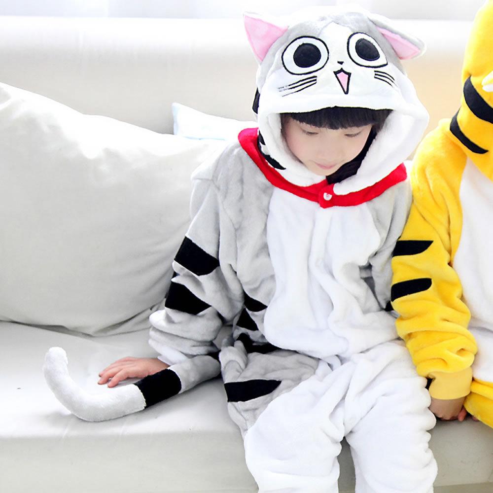 fa9064796 Yellow tiger pajamas cat boys clothes warm sleepwear coral fleece ...