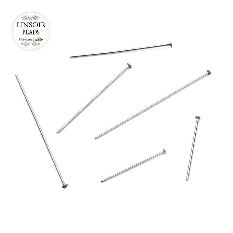100pcs 20 30 40 50 60 70mm Stainless Steel Heads Eye Flat Head Pin For Jewelry Making Findings Accessories Wholesale Supplies