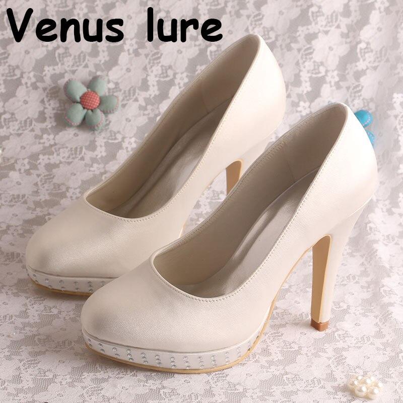 Satin demoiselles d'honneur chaussures ivoire Satin plate-forme dames cristal plate-forme chaussures habillées