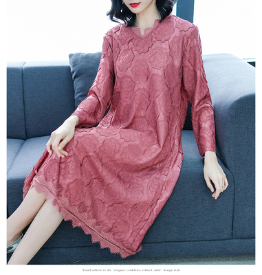 FREE SHIPPING  spring and summer miyake pleated one-piece dress medium-long v-neck  three quarter Spell lace dress IN STOCK