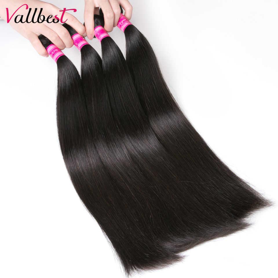 Vallbest перуанские пучки волос с закрытием человеческие волосы прямые 4 пучка с закрытием шнурка не Реми наращивание волос двойной уток