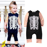 Fashion Newborn Baby Boy Girl Clothes Long Sleeve Bone Romper One Pieces Playsuit Outfit Bebes Clothing 0-24M
