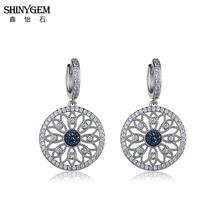 ShinyGem Natural Druzy Stone Earrings CZ Crystal Round Flower Silver Color Hollow Drop Dangle For Women