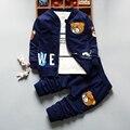 Crianças roupas 2016 conjuntos de roupa nova Menino Da Criança das Crianças 3 pcs jaqueta queda calças T-shirt Dos Desenhos Animados Urso t2926