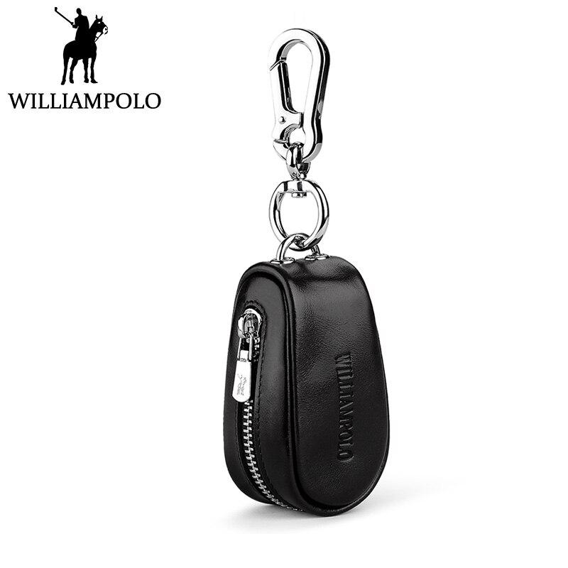 WILLIAMPOLO petite voiture Porte-clés De Luxe cuir véritable de marque Clé Cas Portefeuille De Mode Maison organisateur de clés Hommes