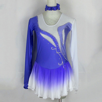Performance Wear Custom Desing Blue and White Figure Skating Dresses For Competition Ice Skating Clothing Custom