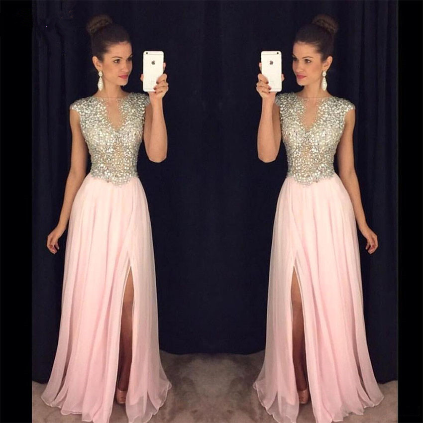 Backless   Evening     Dress   Long 2019 A Line V Neck Beading Crystal with Slit Floor Length Chiffon Prom   Dress   Women Formal Party Gown