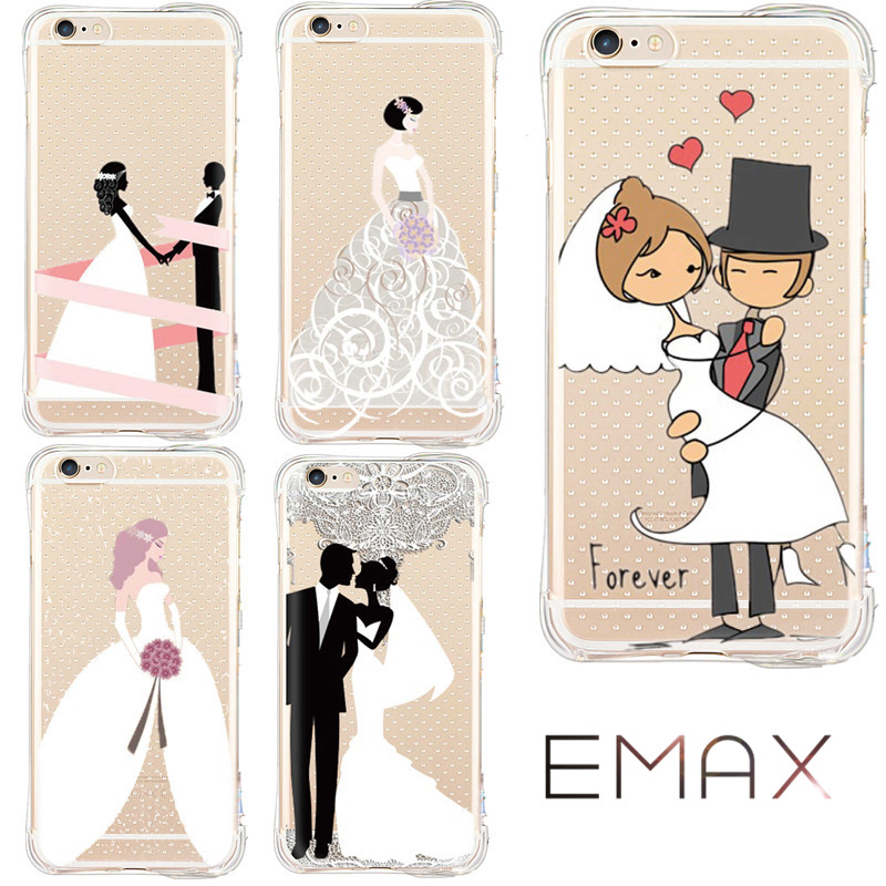 Romantic Wedding Marry Anti Shock Case for iPhone6 6s plus5 5s 7 Plus Noble Dress Design Security Shock Proof Cover Coque Fundas