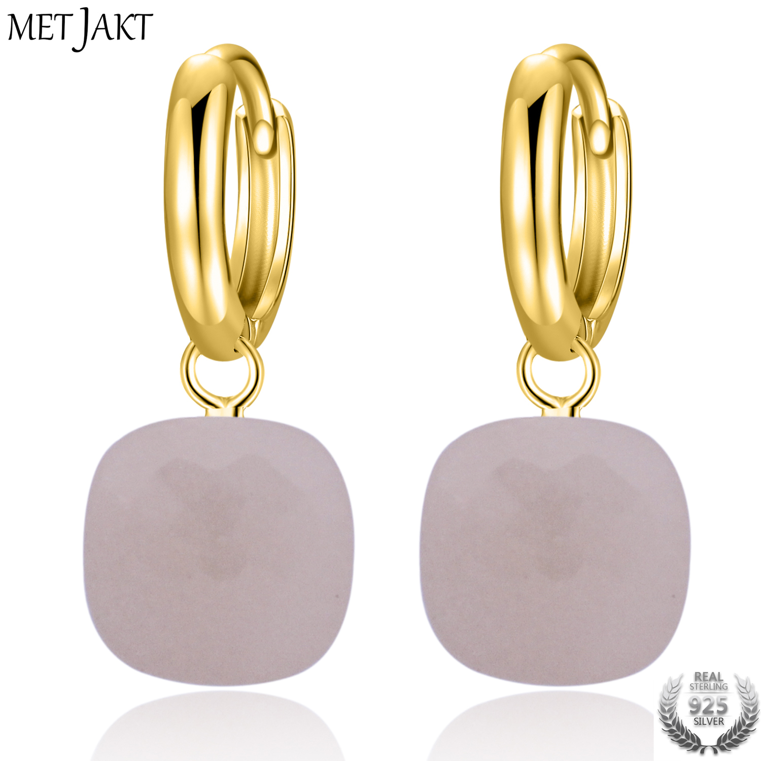 MetJakt Natural Pink Agate Solid 925 Sterling Silver Gold Color Hook Earring for Lady Wedding party