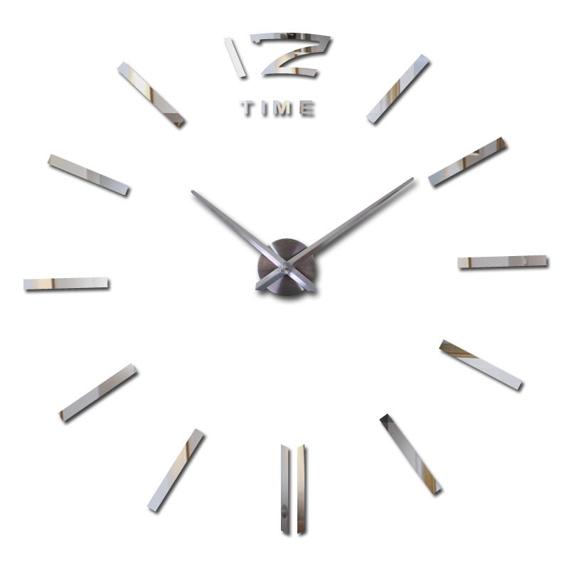 nieuwe hete verkoop klok horloge muurstickers klokken huisdecoratie moderne quartz diy 3d acryl spiegel metaal gratis verzending