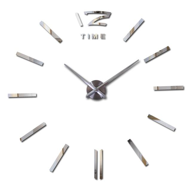 new hot sale clock watch wall stickers clocks home decoration modern quartz diy 3d acrylic Mirror Metal free shipping