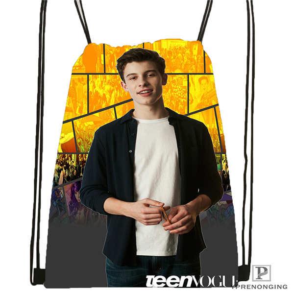 Custom Shawn Mendes @1 Drawstring Backpack Bag Cute Daypack Kids Satchel (Black Back) 31x40cm#2018612-01-33