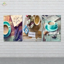 HD Pinted 3 Pieces/set Green Lifes  Wall Coffee Art Picture Painting Canvas Home Decoration Dining or Living Room