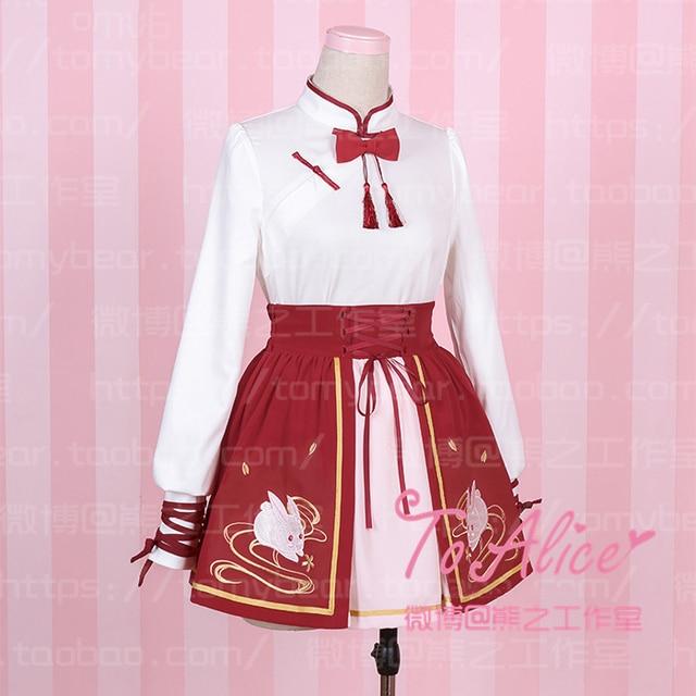 5adf1306e Kongfu Girl Chinese Style Lolita 2Pcs Set: Long Sleeve White Stand Collar  Tassel Blouse Shirt + Red Rabbit Embroidery Mini Skirt