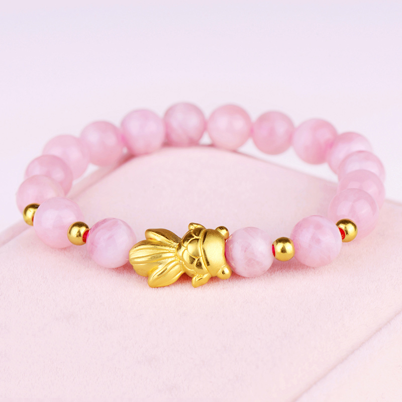 999 New Pure 24K Yellow Gold Bracelet 3D Lucky Fish & 3mm Lucky Beads Rose Quartz Beads Chain