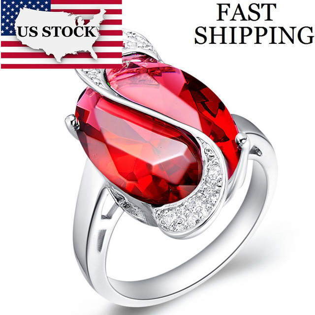 USA STOCK Ulove 30% Wedding Engagement Crystal Ring Purple/Red/Blue/Green/Rainbow Oval Silver Rings for Women Cheap Jewelry J196