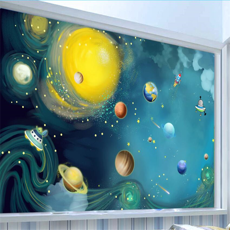 Beibehang 3d wallpaper hand-painted wallpaper space universe children room bedroom large murals custom background wall paper custom 3d photo wallpaper murals hd cartoon mushroom room children s bedroom background wall decoration painting wall paper