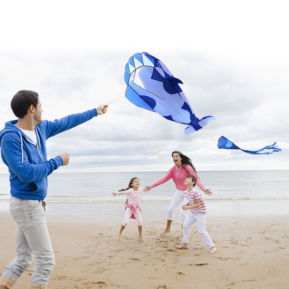 High Quality 3D Kite Huge Frameless Soft Big Whale Flying Kite Sports Beach Kite Easy To Fly Outdoor Sports For Kids Adults