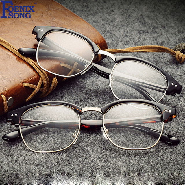 FOENIXSONG Vintage Retro Men Women Clear Glasses Brand New Black Frames  Reader Eyeglasses Female Eyewear 46637ff902