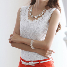 Plus Size Women XXXL Blusas Femininas 2016 Summer Women Blouse Lace Vintage Sleeveless White Renda Crochet Casual Shirts Tops