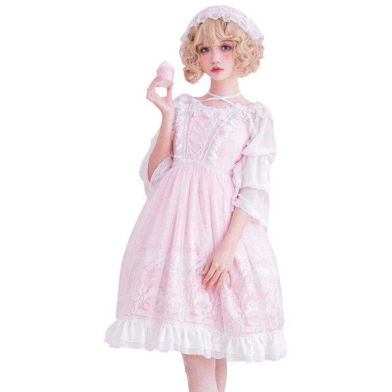 La Fata Land ~ Dolce Rosa Lolita Abito Senza Maniche Principessa del Vestito Da Partito Stampato-in Abiti da Abbigliamento da donna su  Gruppo 3