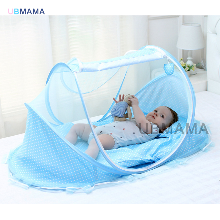 High-quality Mosquito Control Red Blue Baby Bed With Mosquito Net Portable Baby Bed Music Game Cotton Folding Bed