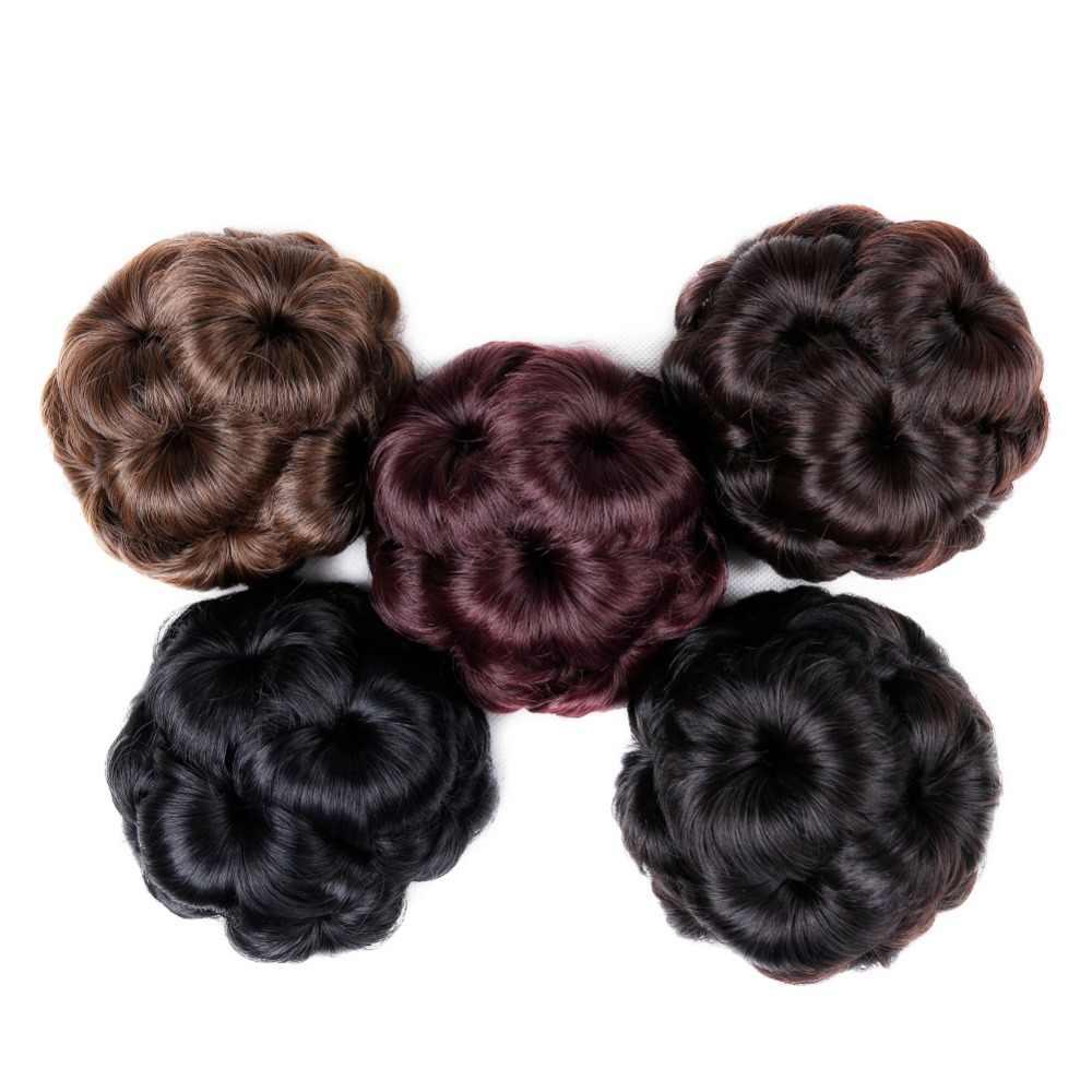 Pinza de pelo Chignon rizado para mujer FAVE en extensiones de cabello Bug/Ash/Negro/Flaxen Color sintético Chignon para las mujeres